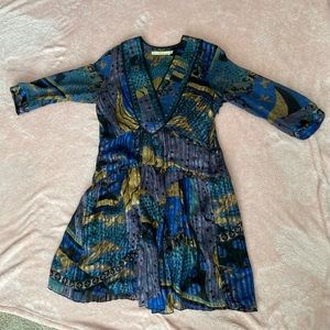 Of Two Minds Colorful Boho V-Neck Mini Dress